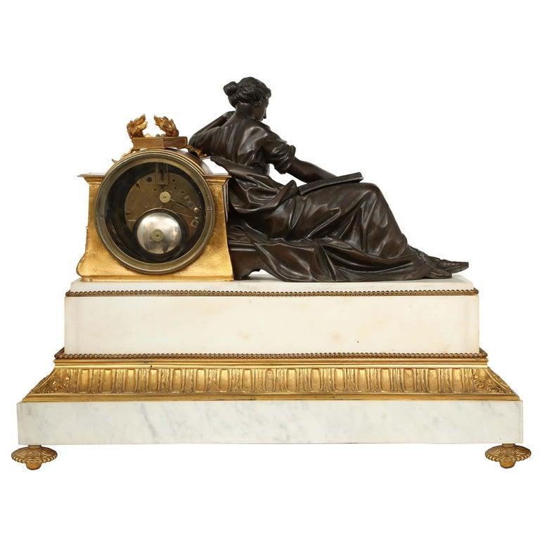 French Louis XVI St. Mid 19th Century Mantel Clock Signed 'Jean' Paris For Sale 1