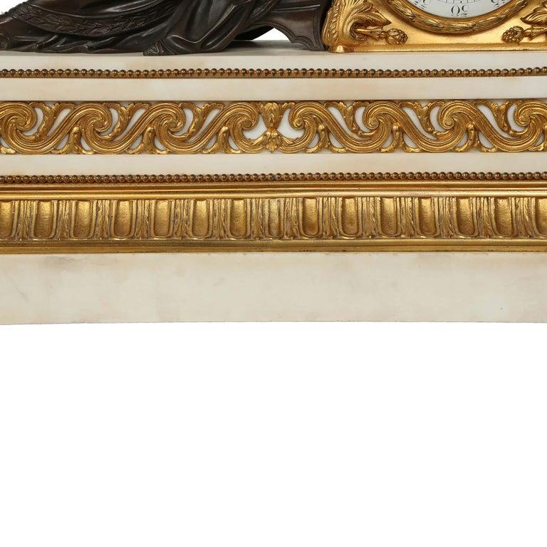 French Louis XVI St. Mid 19th Century Mantel Clock Signed 'Jean' Paris For Sale 3