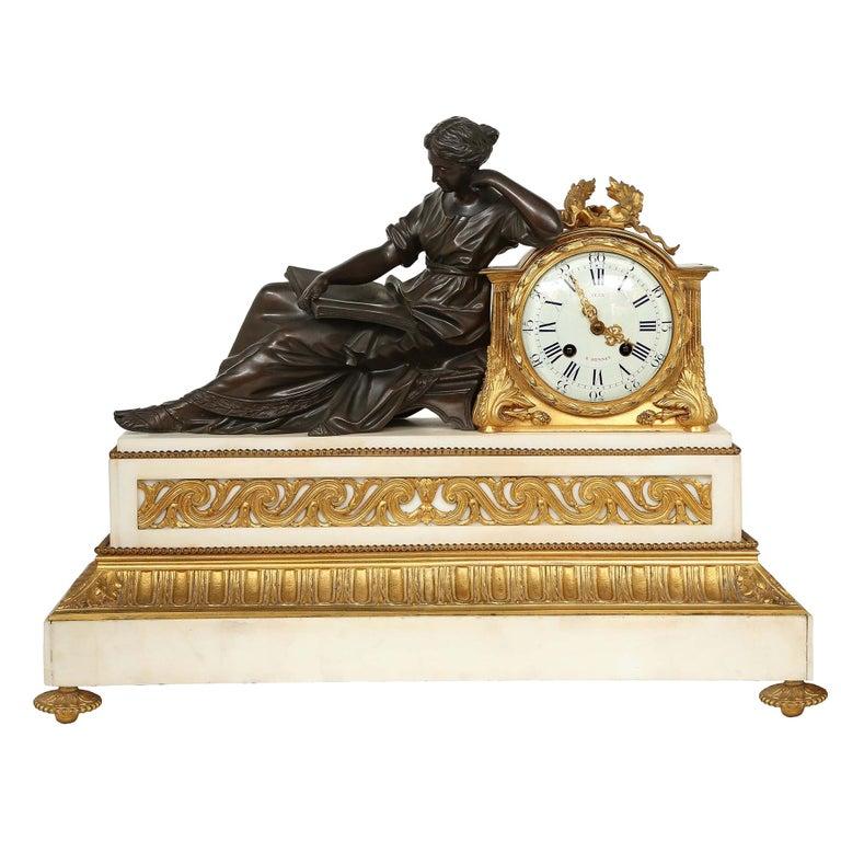 French Louis XVI St. Mid 19th Century Mantel Clock Signed 'Jean' Paris For Sale