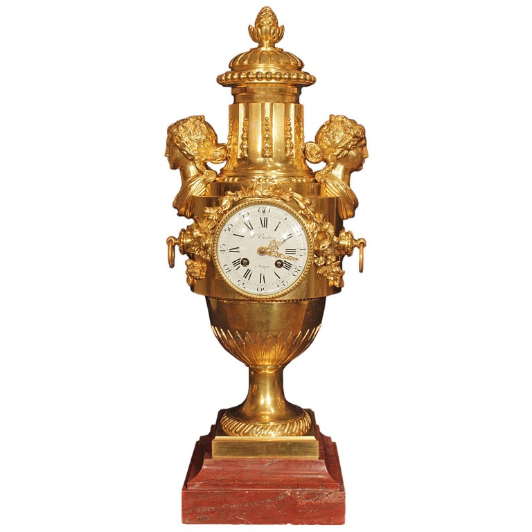 French Louis XVI St. Mid-19th Century Ormolu and Rouge Griotte Marble Clock For Sale