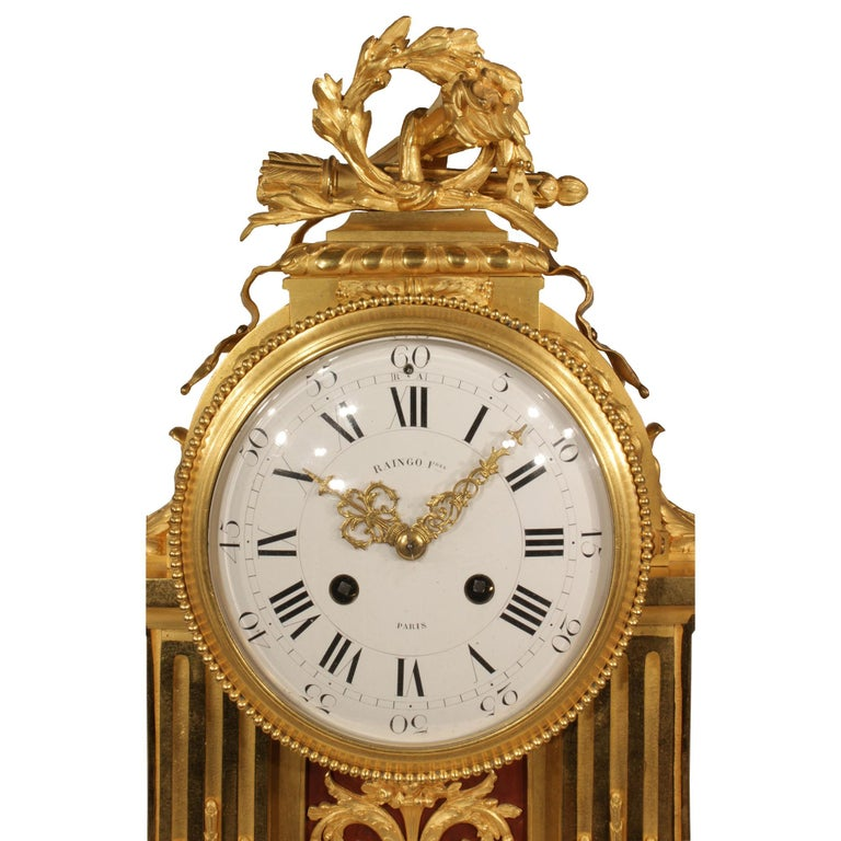 French Louis XVI Style Mid-19th Century Ormolu Marble Clock, Signed Frères In Excellent Condition For Sale In West Palm Beach, FL