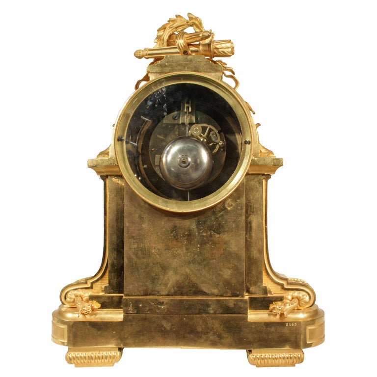 French Louis XVI Style Mid-19th Century Ormolu Marble Clock, Signed Frères For Sale 1