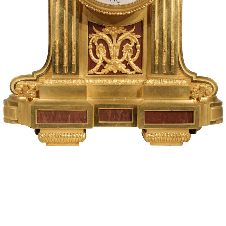 French Louis XVI Style Mid-19th Century Ormolu Marble Clock, Signed Frères For Sale 2