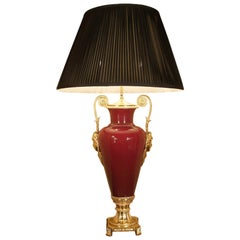 French Louis XVI Style Mid-19th Century Porcelain And Ormolu Lamp
