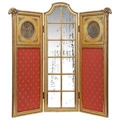 French Louis XVI St. Mid 19th Century Three Paneled Gilt Wood Parisian Screen