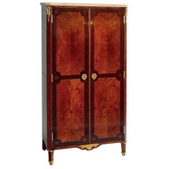 French Louis XVI Style Two-Door Tulipwood and Kingwood Marquetry Armoire