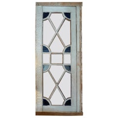 French XIX Louis XVI Stain Glass Framed Window or Door. 5 Glass Panels Missing