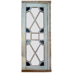 French Louis XVI Stain Glass Framed Window or Door, 5 Glass Panels Missing