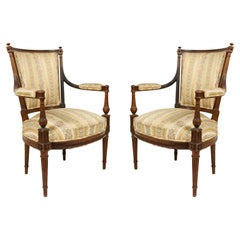 French Louis XVI Striped Armchairs