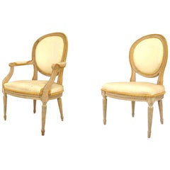 French Louis XVI Stripped Bleach Dining Chairs