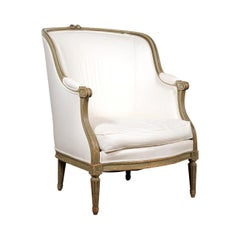 French Louis XVI Style 1880s Barrelback Bergère Armchair with New Upholstery