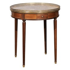 French Louis XVI Style 1890s Bouillotte Table with Marble Top and Brass Gallery