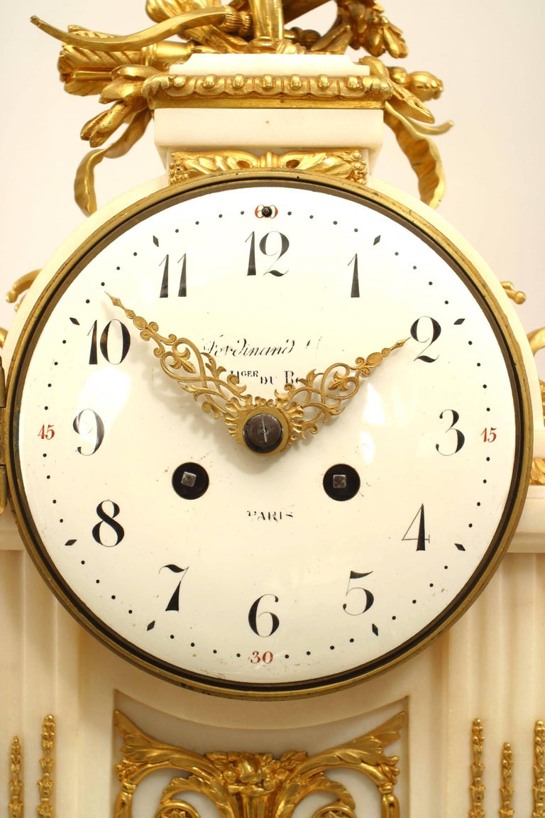French Louis XVI Style '19th Century' White Marble Mantle Clock In Good Condition For Sale In New York, NY