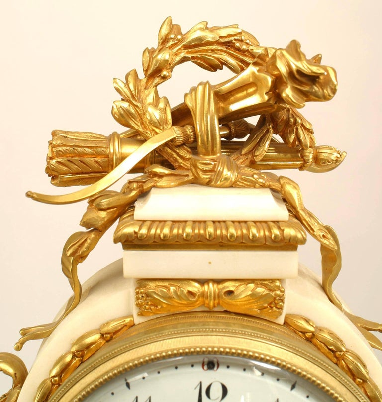 Bronze French Louis XVI Style '19th Century' White Marble Mantle Clock For Sale