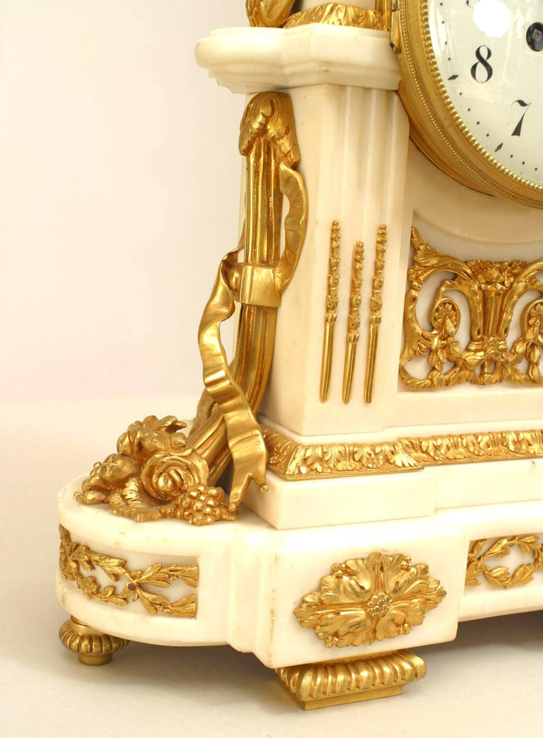 French Louis XVI Style '19th Century' White Marble Mantle Clock For Sale 1