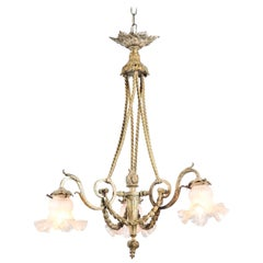 French Louis XVI Style 19th Century Bronze Three-Light Chandelier with Torch