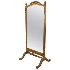 French Louis XVI Style '19th Century' Gilt Cheval Mirror
