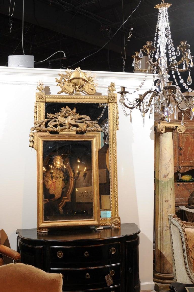 French Louis Xvi Style 19th Century Gilt Mirror With