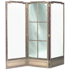 French Louis XVI Style 19th Century Gilt Three-Fold Screen