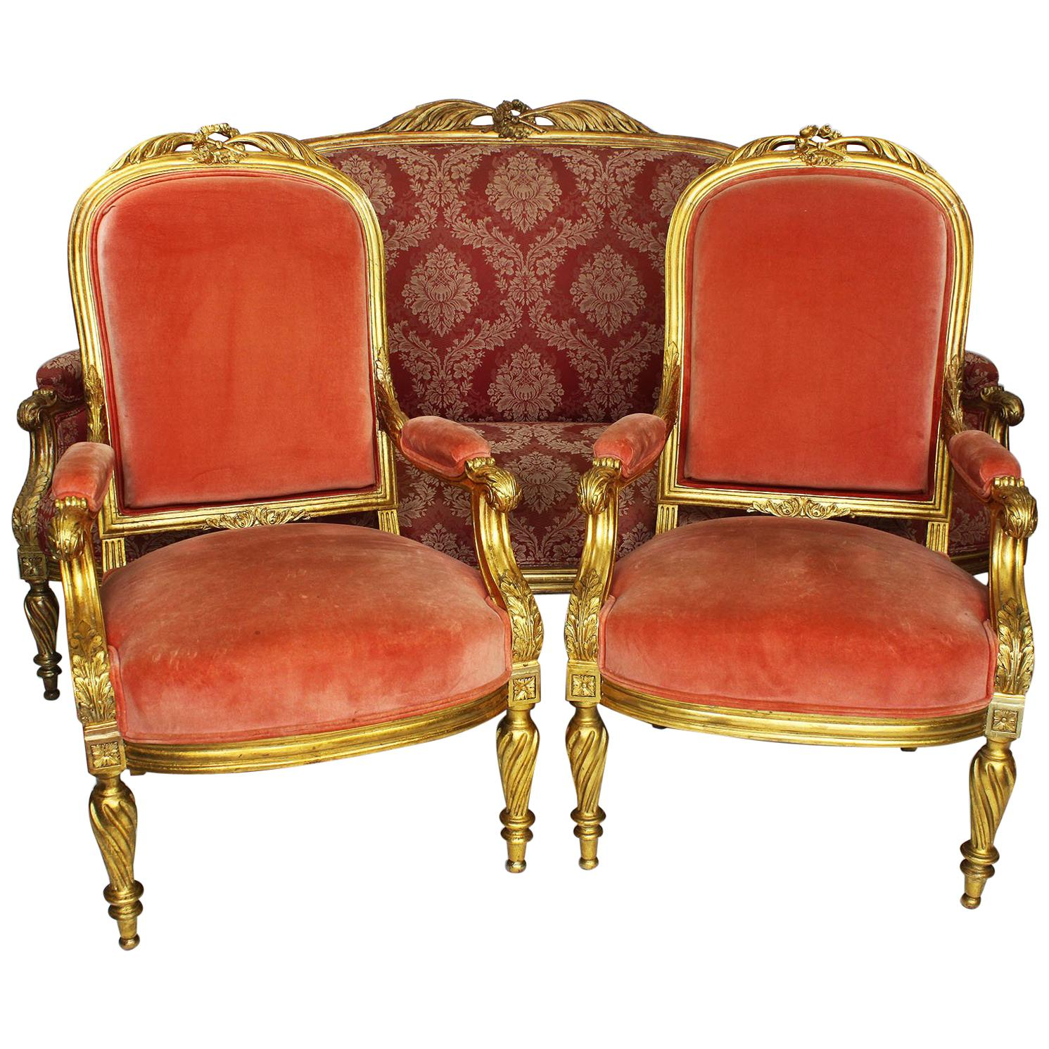 French Louis XVI Style 19th Century Giltwood Carved Three-Piece Salon Suite