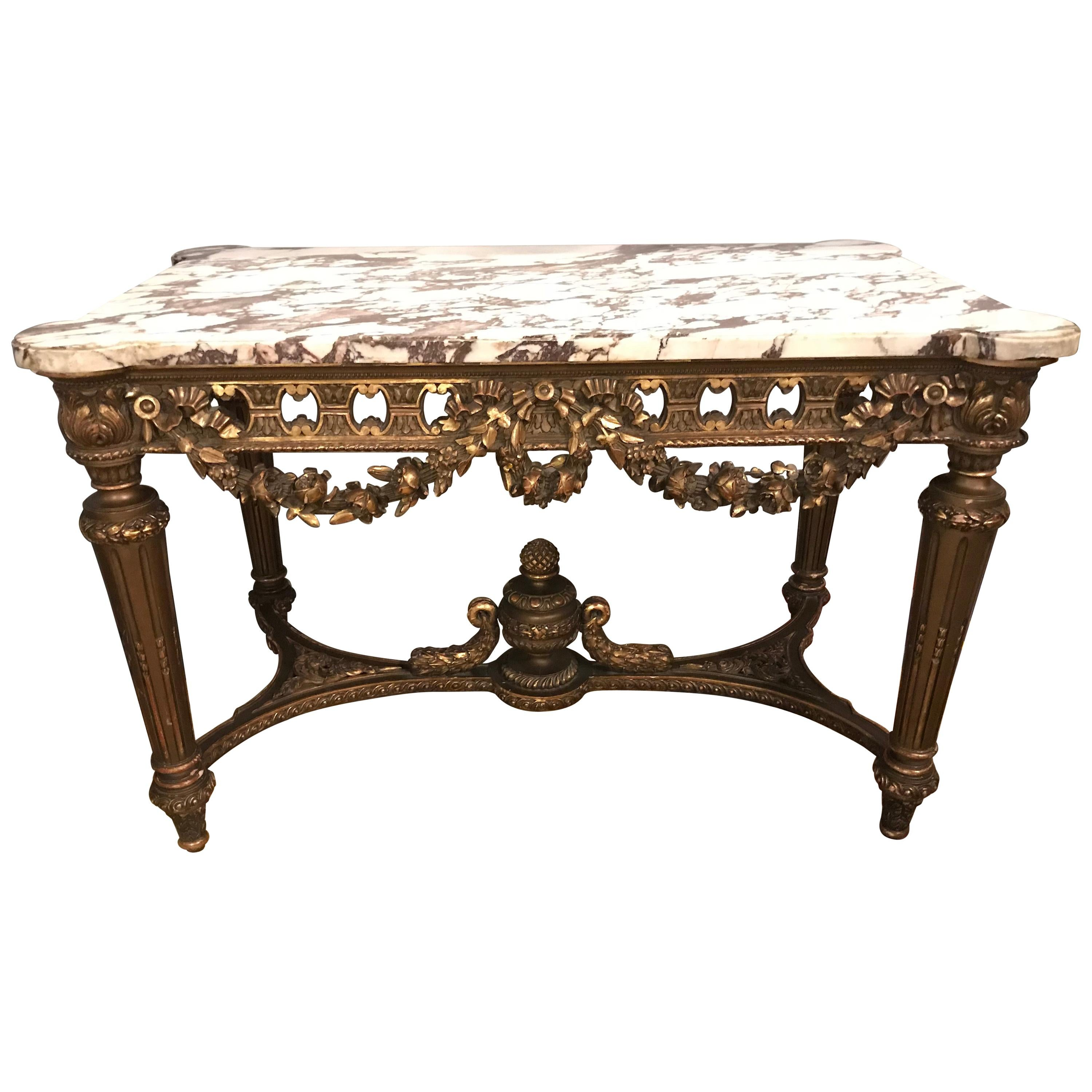 French Louis XVI Style 19th Century Giltwood Marble-Top Centre Table
