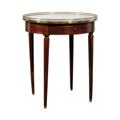 French Louis XVI Style 19th Century Mahogany Bouillotte Table with Marble Top