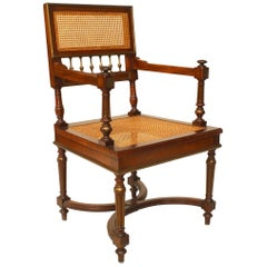French Louis XVI Style '19th Century' Mahogany Square Back Open Armchair