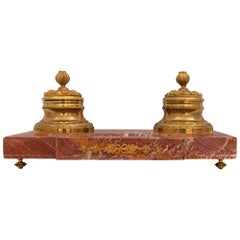 French Louis XVI Style 19th Century Marble and Ormolu Inkwell