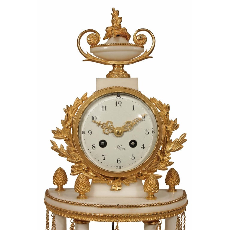 French Louis XVI Style 19th Century Mounted Marble Clock Garniture Set In Excellent Condition For Sale In West Palm Beach, FL