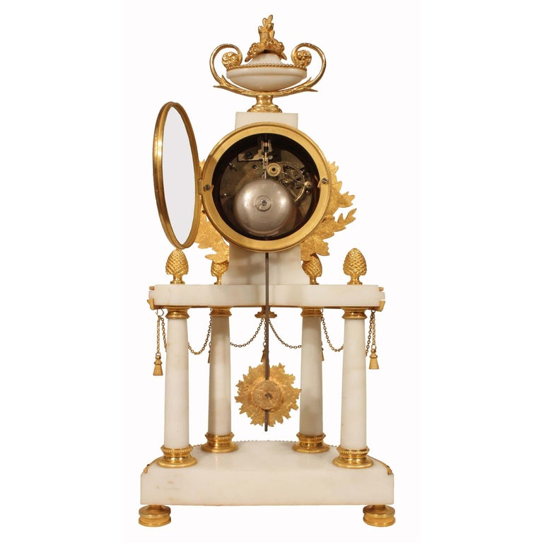 Ormolu French Louis XVI Style 19th Century Mounted Marble Clock Garniture Set For Sale