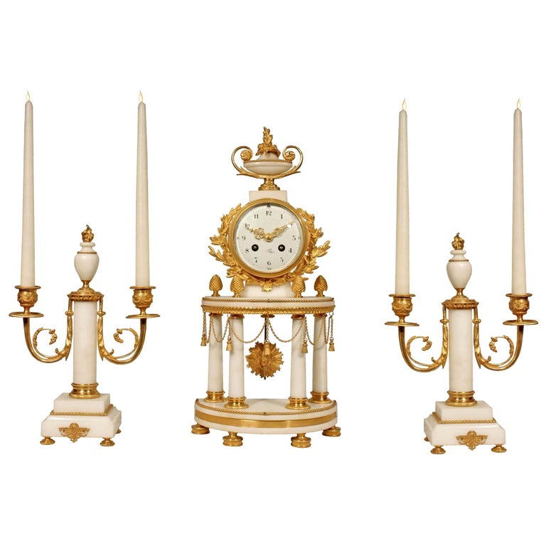 French Louis XVI Style 19th Century Mounted Marble Clock Garniture Set For Sale