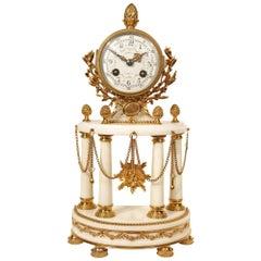 French Louis XVI Style 19th Century Ormolu Mounted on White Carrara Marble Clock