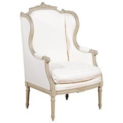 French Louis XVI Style 19th Century Painted and Carved Wingback Bergère Chair