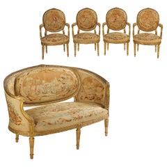 French Louis XVI Style Antique Salon Suite of Canapé & Four Chairs, circa 1890