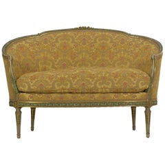 French Louis XVI Style Antique Sofa Settee Canapé Green & Gold Painted Surface