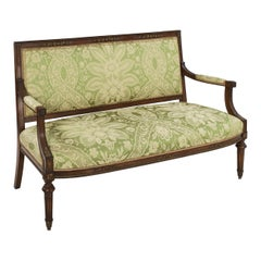 French Louis XVI Style Antique Walnut Settee Sofa, circa 1900
