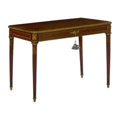 French Louis XVI Style Antique Writing Table Desk Bureau Plat by Schmit et Cie