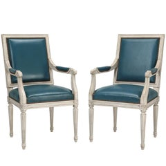 French Louis XVI Style Armchairs Custom Dyed Blue Leather Hand-Made in France