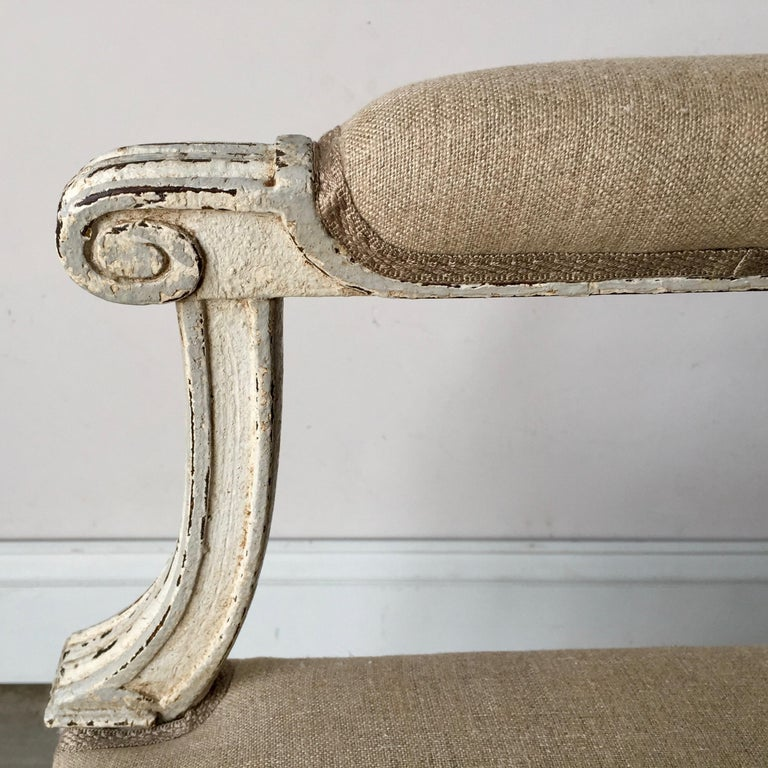 Linen French Louis XVI Style Banquette For Sale