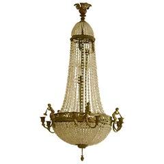 French Louis XVI Style Basket 'Panier' Chandelier, Bronze, Crystal & Glass