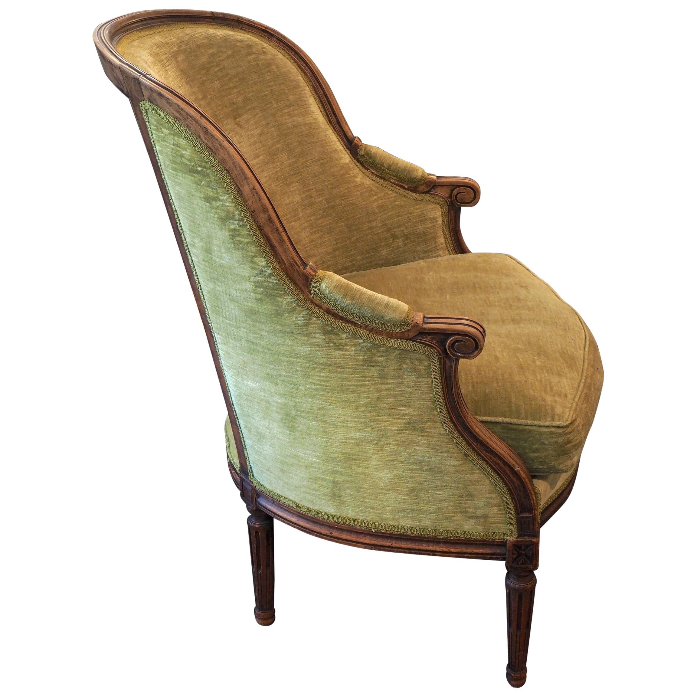 French Louis XVI Style Bergère Armchair Upholstered Green Velvet, 19th Century