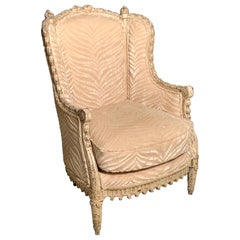 French Louis XVI Style Bergère Armchair with Silk Velvet Upholstery