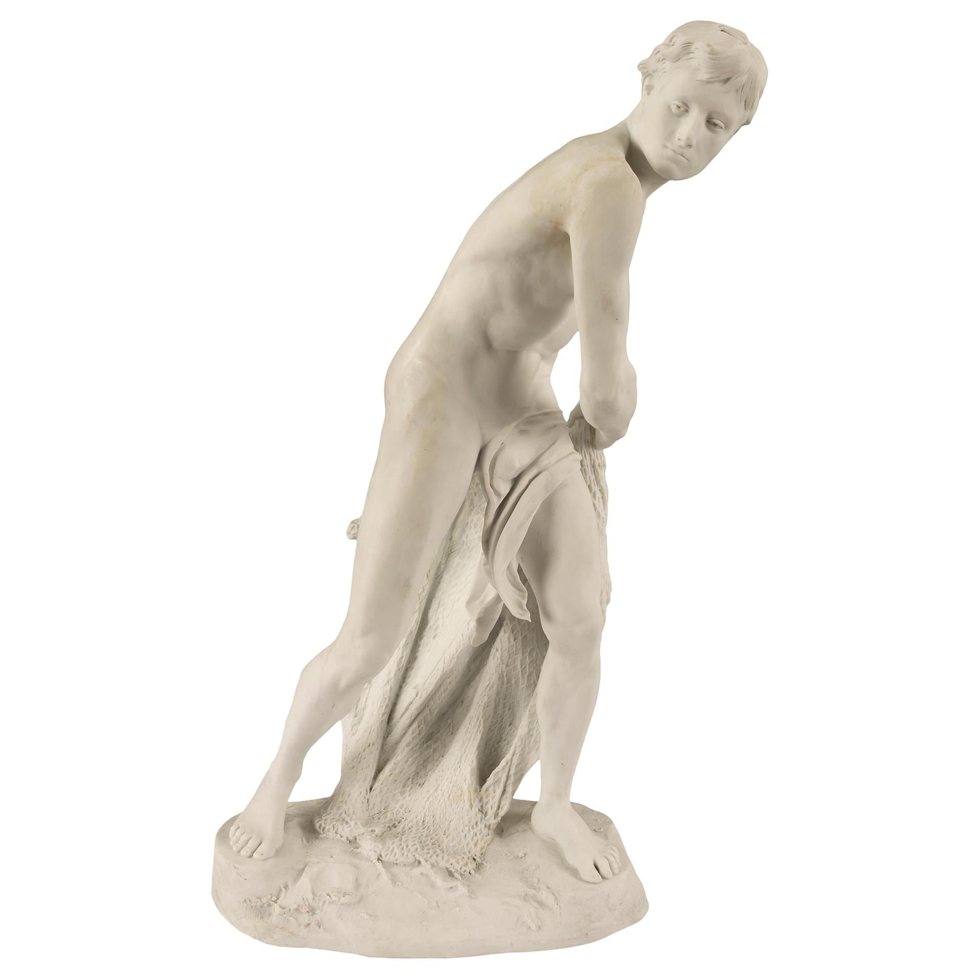 French Louis XVI Style Biscuit De Sèvres Porcelain Statue of a Fisher