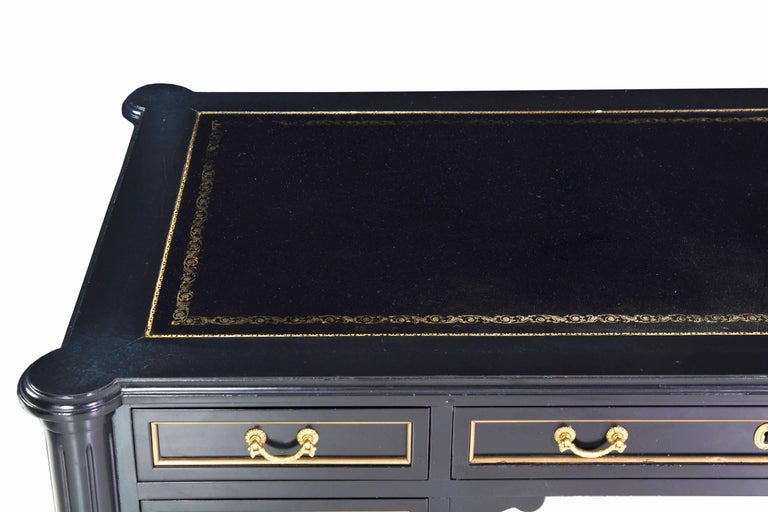 Brass French Louis XVI Style Black Lacquer Ebonized Writing Desk Table, 20th Century For Sale