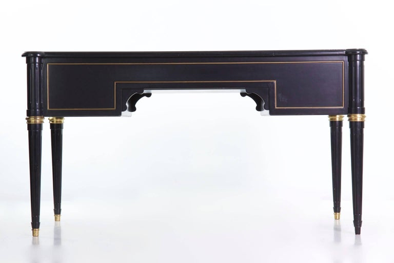 French Louis XVI Style Black Lacquer Ebonized Writing Desk Table, 20th Century For Sale 3