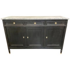 French Louis XVI Style Black Lacquered Buffet with Marble Top