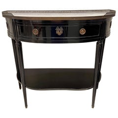 French Louis XVI Style Black Lacquered Servers with Carrara Marble Top