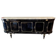 French Louis XVI Style Black Lacquered Side Board with Marble Top