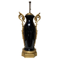 French Louis XVI Style Black Porcelain Table Lamp with Gilt Bronze Mounts
