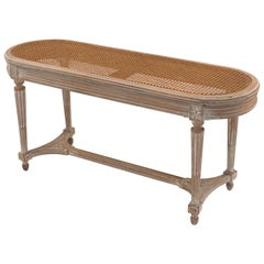 French Louis XVI Style Bleached Oval Bench